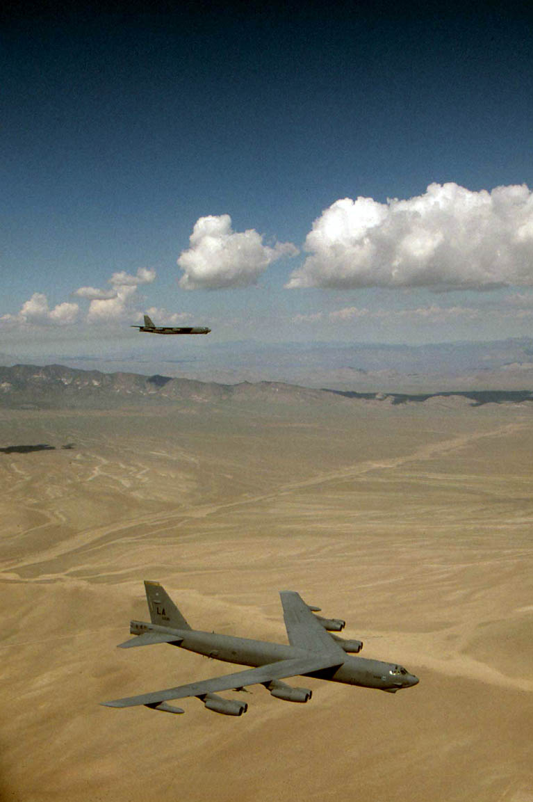Pair of b 52s on a low level mission